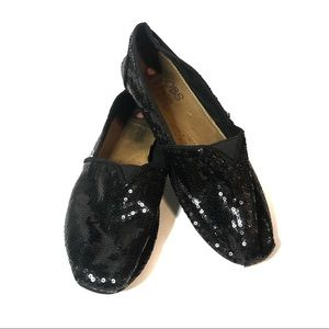 Bobs By Sketchers Black Sequin Slip On Flats